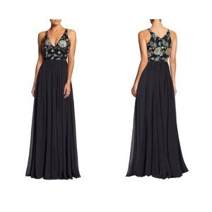 NWOT Embroidered sequin v neck fit and flare gown